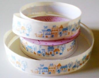 cotton tape Ribbon: village colors