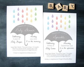 "Editable Sprinkle Raindrop Baby Shower Invitation    Instant Download Digital Printable File    Umbrella, Rain, Rainbow    5""x7"""