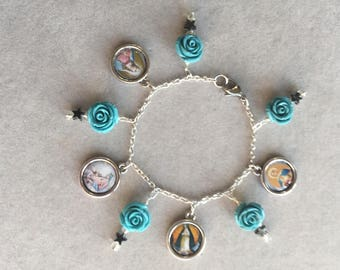Blue Roses and Stars Blessed Mother Bracelet