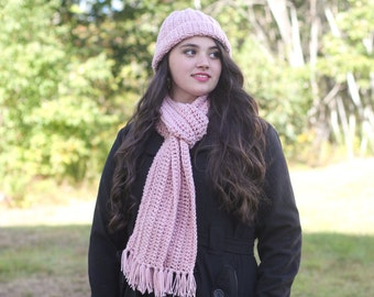 Womens Hat and Scarf set/ Womens Winter hat/ Pink Hat/ Winter hat/ Womens Scarf/ Extra long Scarf/ Hat and Scarf/ Womens Accessories