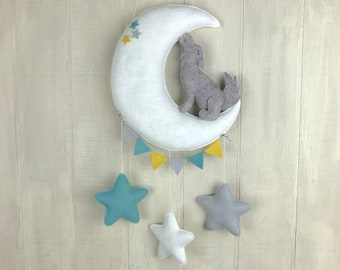 Baby mobile - coyote mobile - cactus mobile - cacti mobile - moon mobile - baby crib mobile - desert mobile - southwestern decor - stars