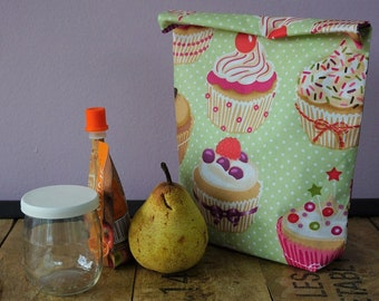 Bag lunch, snack, lunch bag, snacks, picnic, coated cotton cupcake pattern