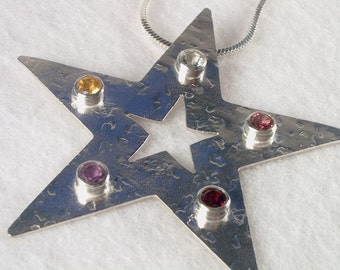 Star Pendant with Multi Colored Stones