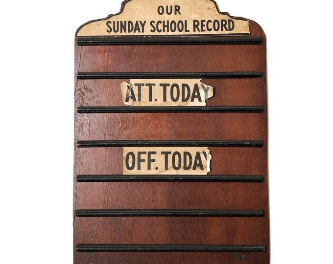 Antique Church Register Board Vintage Wood Photo Display Showcase