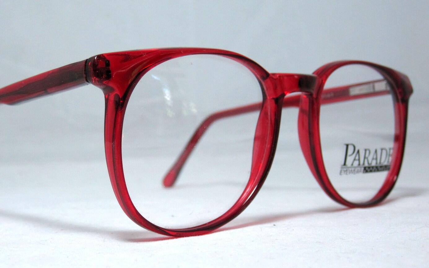 Vintage 80er große rote Horn Rim Brillengestelle.