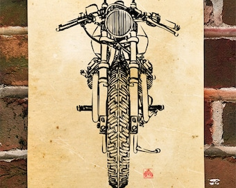 KillerBeeMoto: Limited Prints Italian Engineered Vintage Cafe Racer Front View Poster (Ink Style Illustration) 1 of 50