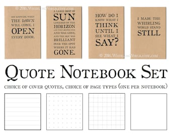 Bookish Book Club Gift, Notebook Set | Literary Quote Journal Gift Set, A6 Kraft Cahiers | Pocket Dori Inserts, Choice of Quotations & Pages
