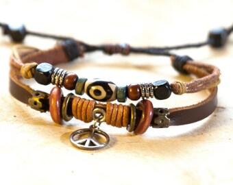 Hippie Bracelet // Hippie Leather Bracelet // Leather Bracelets // Gypsy Bracelet // Peace Bracelet // Friendship Bracelet // Love Bracelet