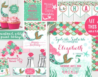 Pink Mermaid birthday party invitations - with PRINTABLE decorations - Pink Mint teal and gold - Mermaid Birthday Party - Instant download