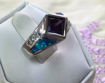 Amethyst and Opal Inlay Ring Size 6