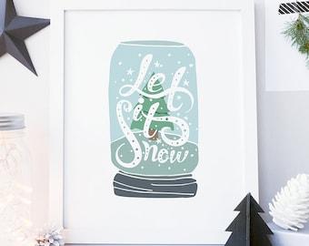 Let It Snow Sign Christmas Print Winter Print Printable Christmas Decoration Christmas Printable Art Digital Holiday Print Winter Wall Art