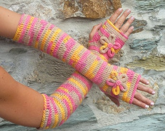 "Long fingerless gloves crochet ""Dream of summer"" - one size"
