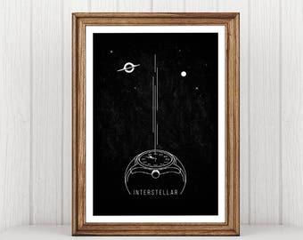 Interstellar Poster, Matthew McConaughey, Gravity, Gargantua, Print Poster, Illustrations, Typography, Gift Idea, Wall Art Decor, Print Idea