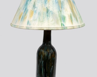 Turquoise and Gold accent lamp, upcycled wine bottle, hand-painted, gift for Mom, Free shipping