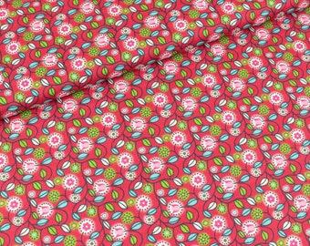 Cotton fabric Clarissa Flower vines on red (9.90 EUR/meter)