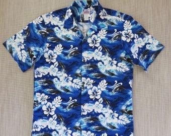 Hawaiian Shirt Men HAWAII Brand Aloha Shirt FLIPPER Dolphin Porpoise Fish Beach Wear 100% Cotton Vintage Camp - L - Oahu Lew's Shirt Shack