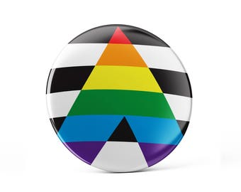 Straight ally pin button, LGBTQ flag, straight pin button, straight ally flag, supportive pin badge, straight support LGBTQ