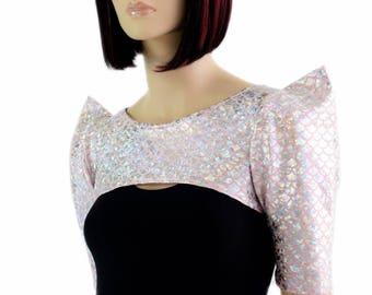 Baby Pink & Silver Round Dragon Scale Bolero Half Length Dance Sleeves (Bolero only, black dress sold separately) - 154533
