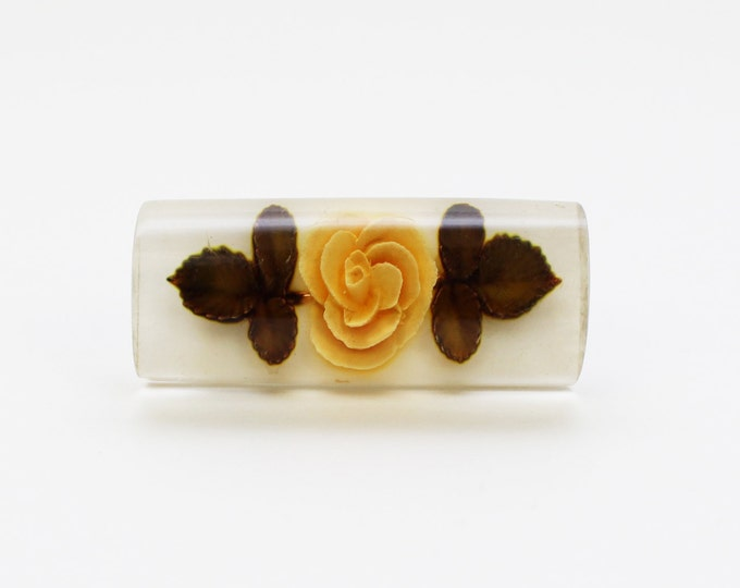 Floral Bar Brooch - 30s Reverse Carved Lucite Rose Brooch - Vintage 1930s Flower Pin