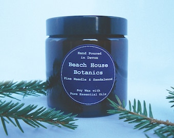 Pine Needle & Sandalwood Soy Wax Candle with Essential Oils-Amber Jar 60ml