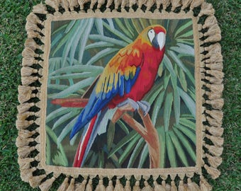 18″ x 18″ Handmade Parrot French Gobelin Tapestry Weave Wool Aubusson Cushion Cover / Pillow Case 12980039