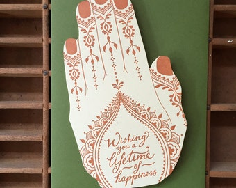 letterpress henna hand shaped card happiness