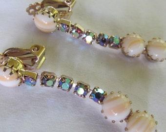 Aurora Borealis Art Deco Earrings Clip On Earrings Razzle Dazzle Rhinestone Earrings Caramel Swirl Clip Back Earrings Non Pierced Dangles