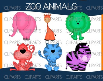Zoo animals, Jungle animals, clipart digital, clip art digital, images, elephant, giraffe, lion, monkey, tiger, zebra,