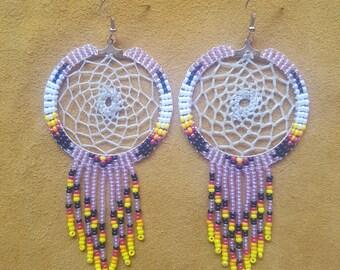 Beaded Dream Catcher Earrings