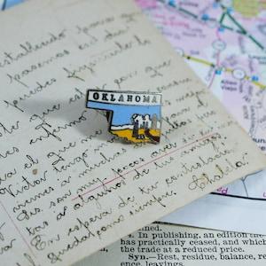 Oklahoma Enamel Pin, Vintage Oklahoma Tie Pin, State Enamel Pin, Oklahoma Lapel  Pin