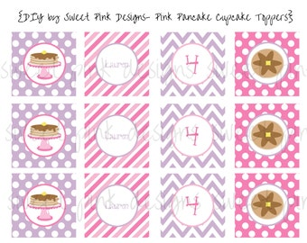 Pink Pancake Party- Cupcake Toppers