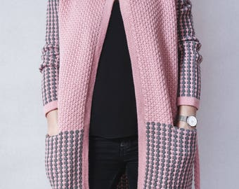 Cardigan Coat, Long Cardigan, Wool Coat, Women Cardigan, Pink Cardigan, Winter Cardigan, Warm Cardigan, Loose Cardigan, Fashion Cardigan
