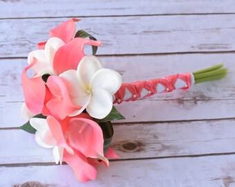 Silk Flower Wedding Bouquet - Coral Peach Calla Lilies Off White Plumeria Natural Touch Silk Bridal Bouquet