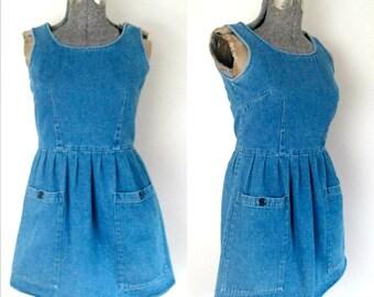 1980s Denim Mini Jumper Dress Big Pockets Vintage Daydress