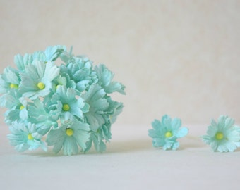 27 mm  10 pastel blue paper  flowers