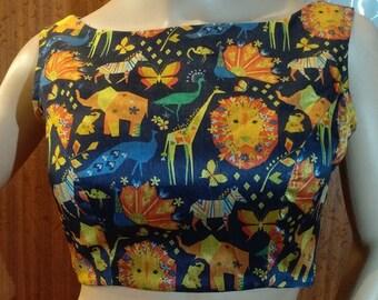 Designer print boatneck blouse