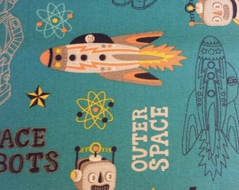Outer Space & Space Robot on Dark Teal, 100% Cotton Fabric, Quilt Fabric, Apparel Fabric, Home Decor, Crafts, Boy, Space Print, Half Yard