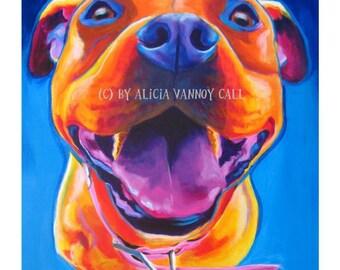 Pit Bull Art, Pet Portrait, Colorful Pit Bull, Pit Bull painting, Pit Bull, DawgArt, Dog Art, Pet Portrait Artist, Colorful Pet Portrait