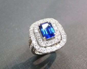 2.20ct Blue Sapphire Diamond Ring In 18K White Gold