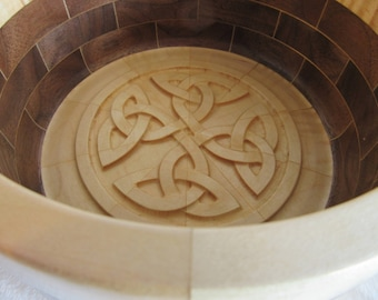 Hand-Turned Handmade American Walnut and Curly Maple Segmented Bowl with Celtic 3D Carved Bottom