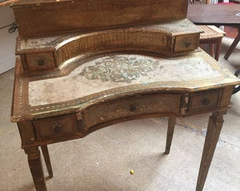 Vintage Italian Florentine Desk Vanity