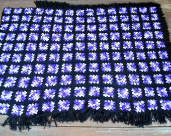 Granny Square Style Wool Afghan - Shades of Purple and White on Black