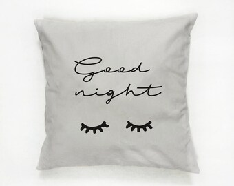 Good Night Pillow, Typography Pillow, Home Decor, Cushion Cover, Lashes Pillow, Throw Pillow, Bedroom Decor, Bed Pillow, Decorative Pillow,