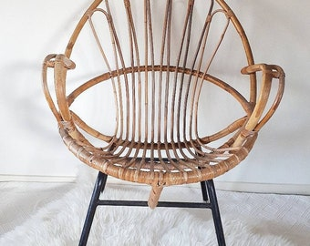 Vintage Rattan Chair for Adults designed by Dirk van Sliedregt