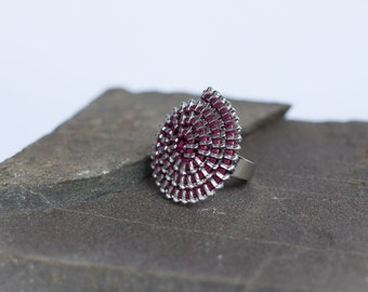 Ring made of reclaimed zipper ring spiral, Burgundy plum Burgundy & silver Ziiip Design recycling recovery