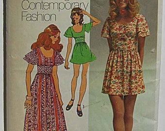 Vintage 70's Misses Empire Waist Dress in Two Lengths Simplicity 9725 Sewing Pattern Size 10
