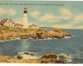 Linen Postcard, Cape Elizabeth, Portland Head Light, Portland, Maine