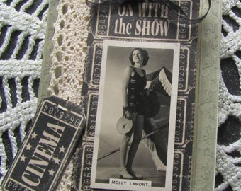 On with The Show - Upcycled Assemblage Brooch - Molly Lamont Film Actress from the 1930's