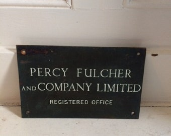 Vintage original British metal sign 'Percy Fulcher and Company Limited' company advertising