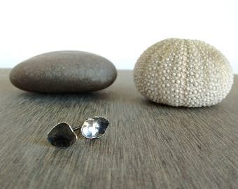 Oxidised free form silver studs - Hammered into an organic shape